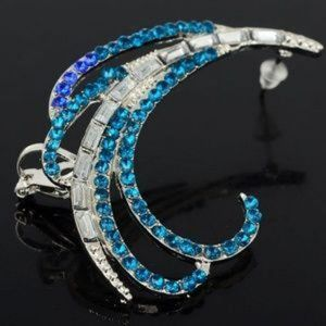 ❤️ Chic Cuff Earring Blue & Clear Crystal 2""